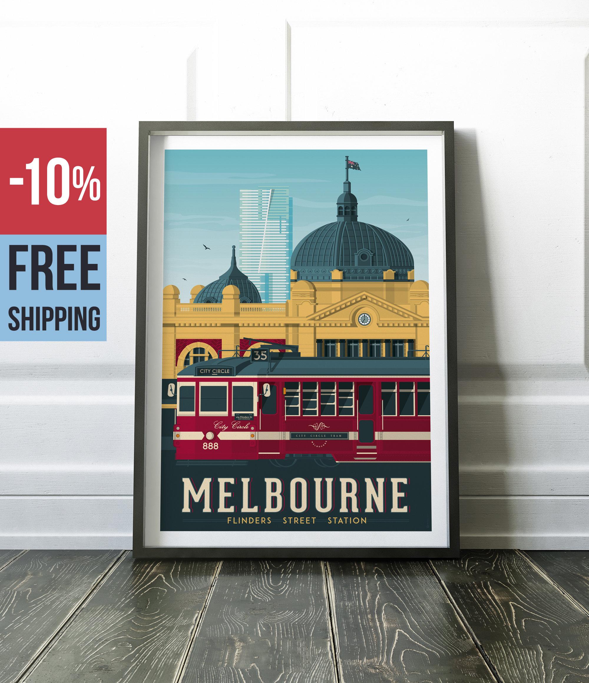 melbourne australia vintage travel poster vintage print