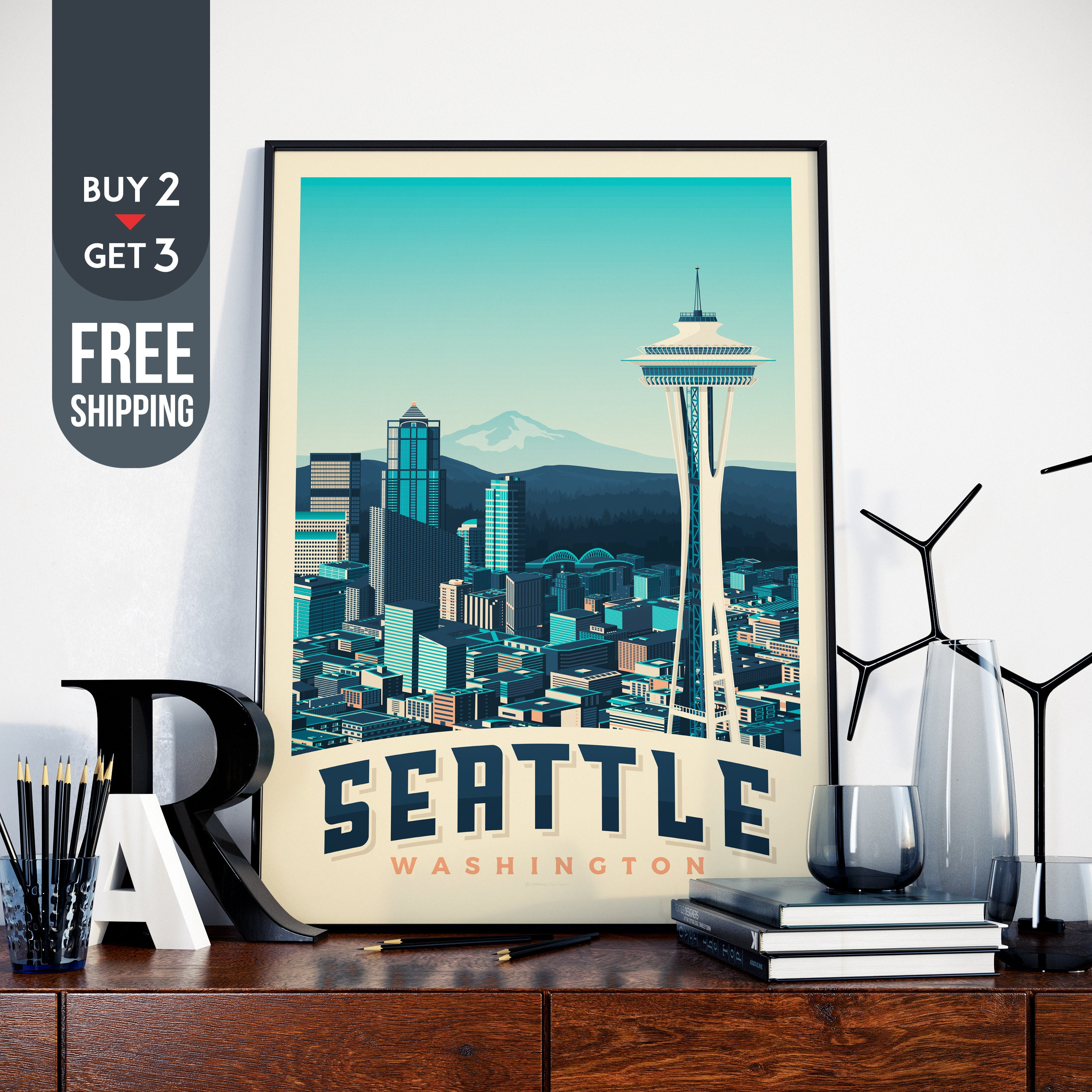 Seattle USA Vintage Travel Poster Print Usa Wall Art Home Decoration Decor Gift Idea Space Needle