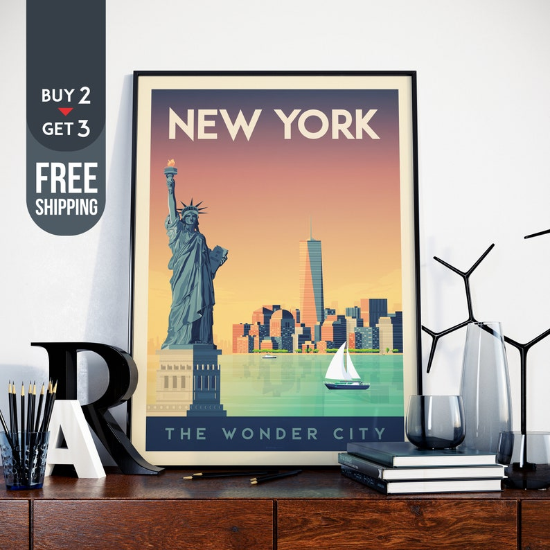 New York City USA Manhattan Vintage Travel Poster