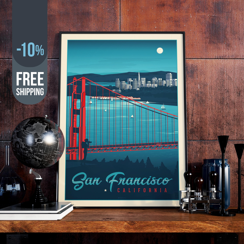 San Francisco Vintage Travel Poster California Vintage Print Usa