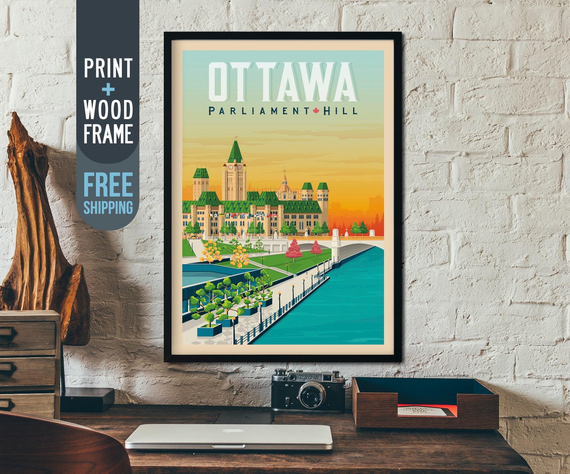 Ottawa Canada Vintage Travel Poster, Ottawa Skyline framed