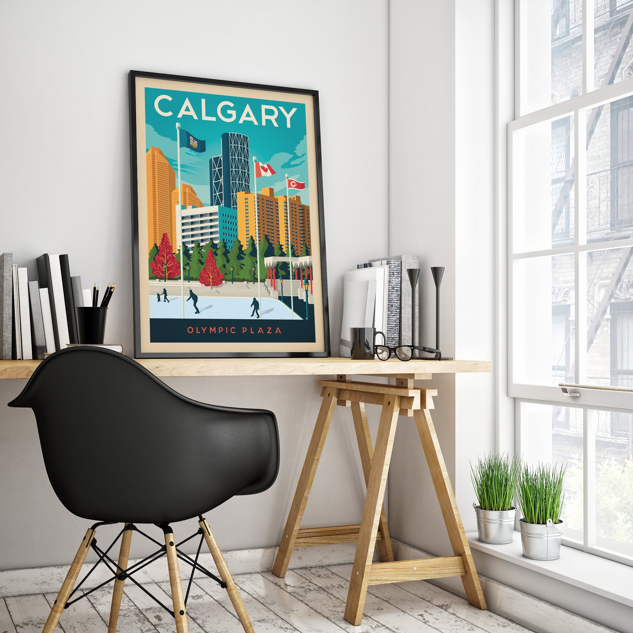 Calgary Canada  Vintage Travel Poster, Framed Poster, Wall Art,