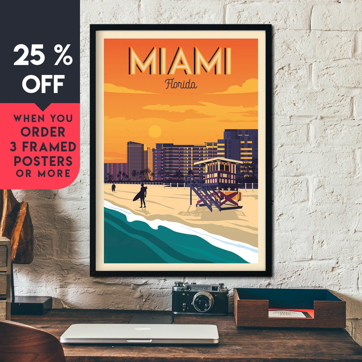 "Miami Florida USA  Vintage painting  Travel Poster Print  art Glass Frame 36/"""