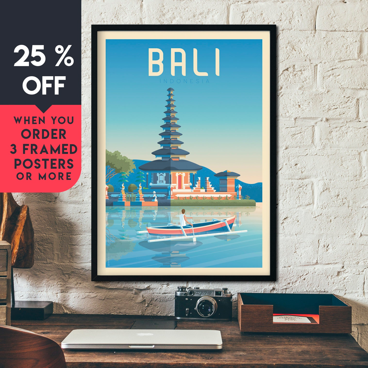 Bali Indonesia Asia Vintage Travel Poster Framed Wall Art
