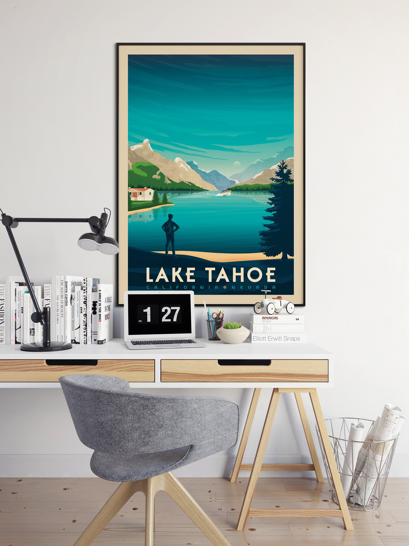 lake tahoe national park print lake tahoe california vintage