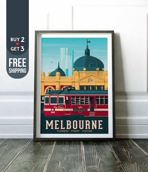 "Vintage Travel Poster Saint Kilda Melbourne Australia Canvas Print Poster 36x24/"""