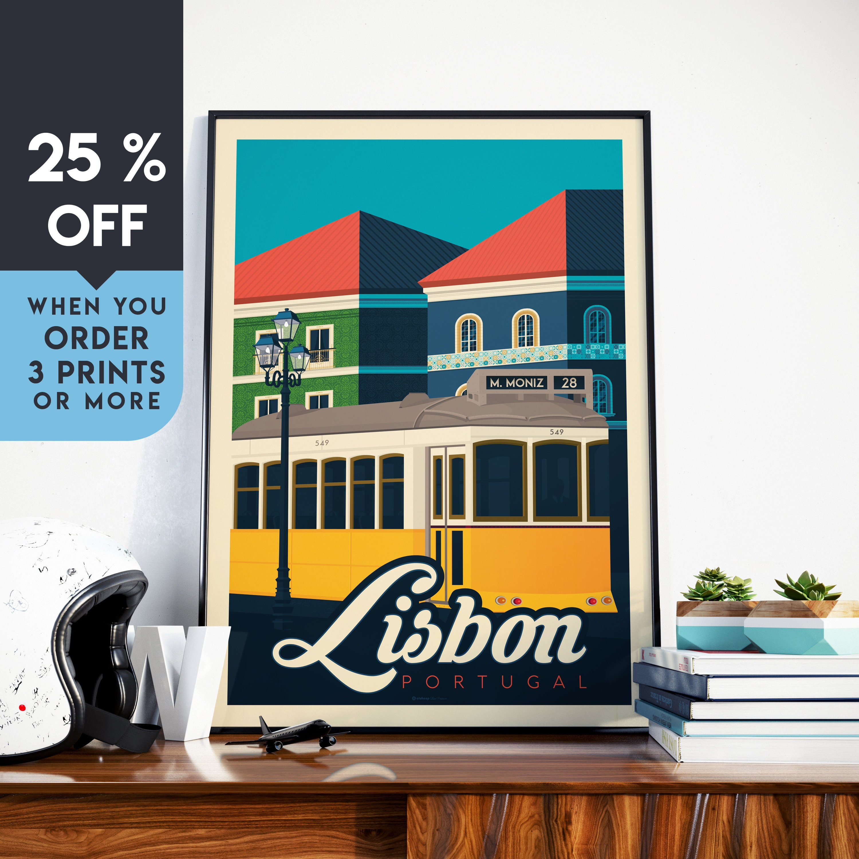 Lisbon Portugal Vintage Travel Poster Lisbon Art Print
