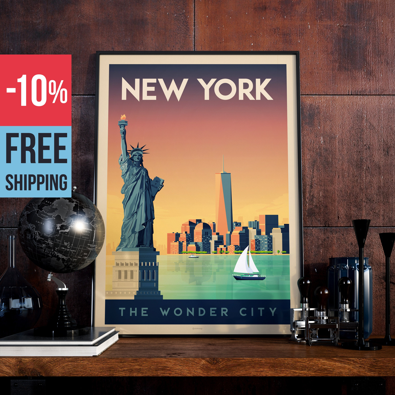New York City USA Manhattan Vintage Travel Poster, New