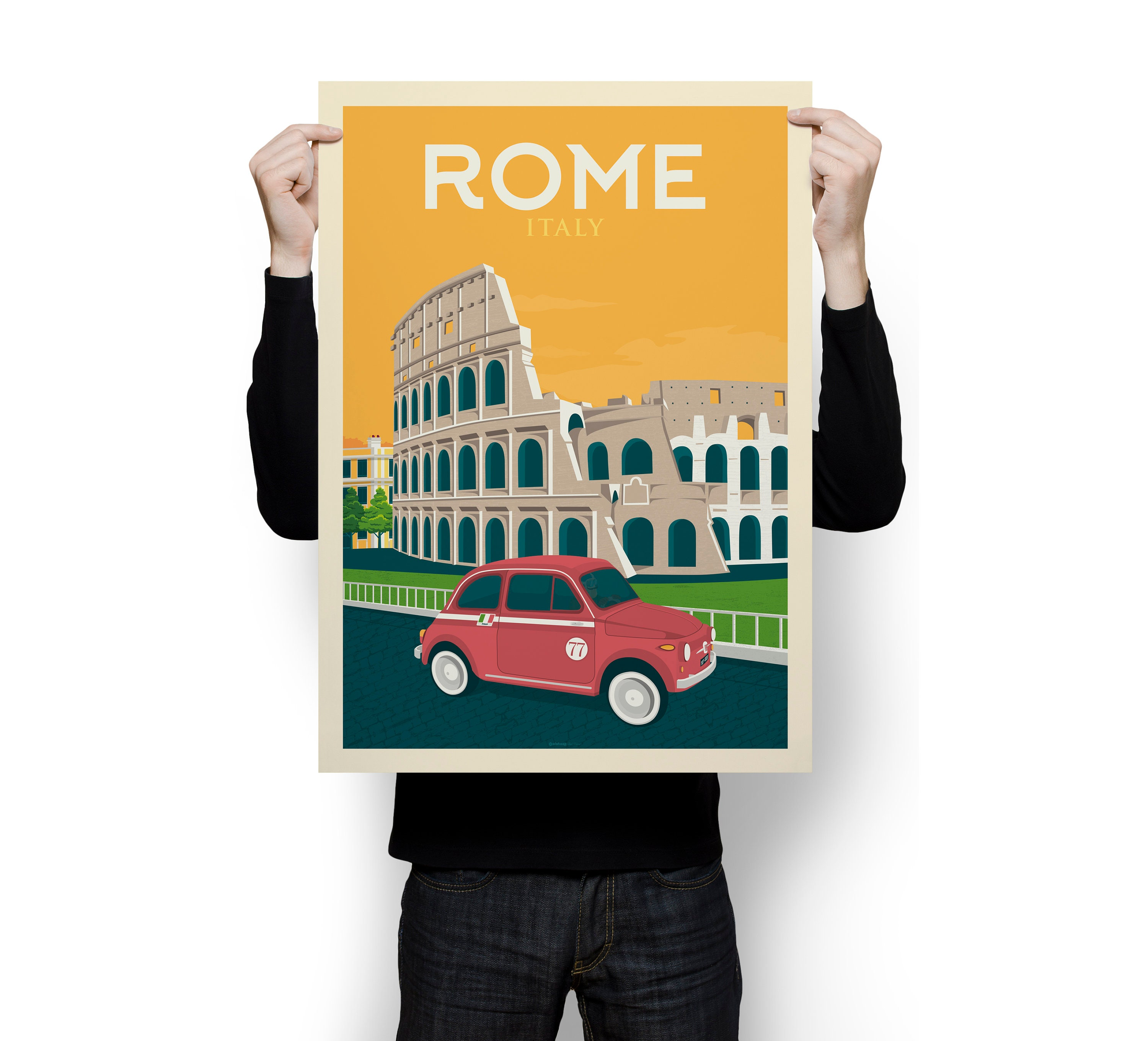 """Vintage Illustrated Travel Poster CANVAS PRINT Map of italy  8/""""X 12/"""""""