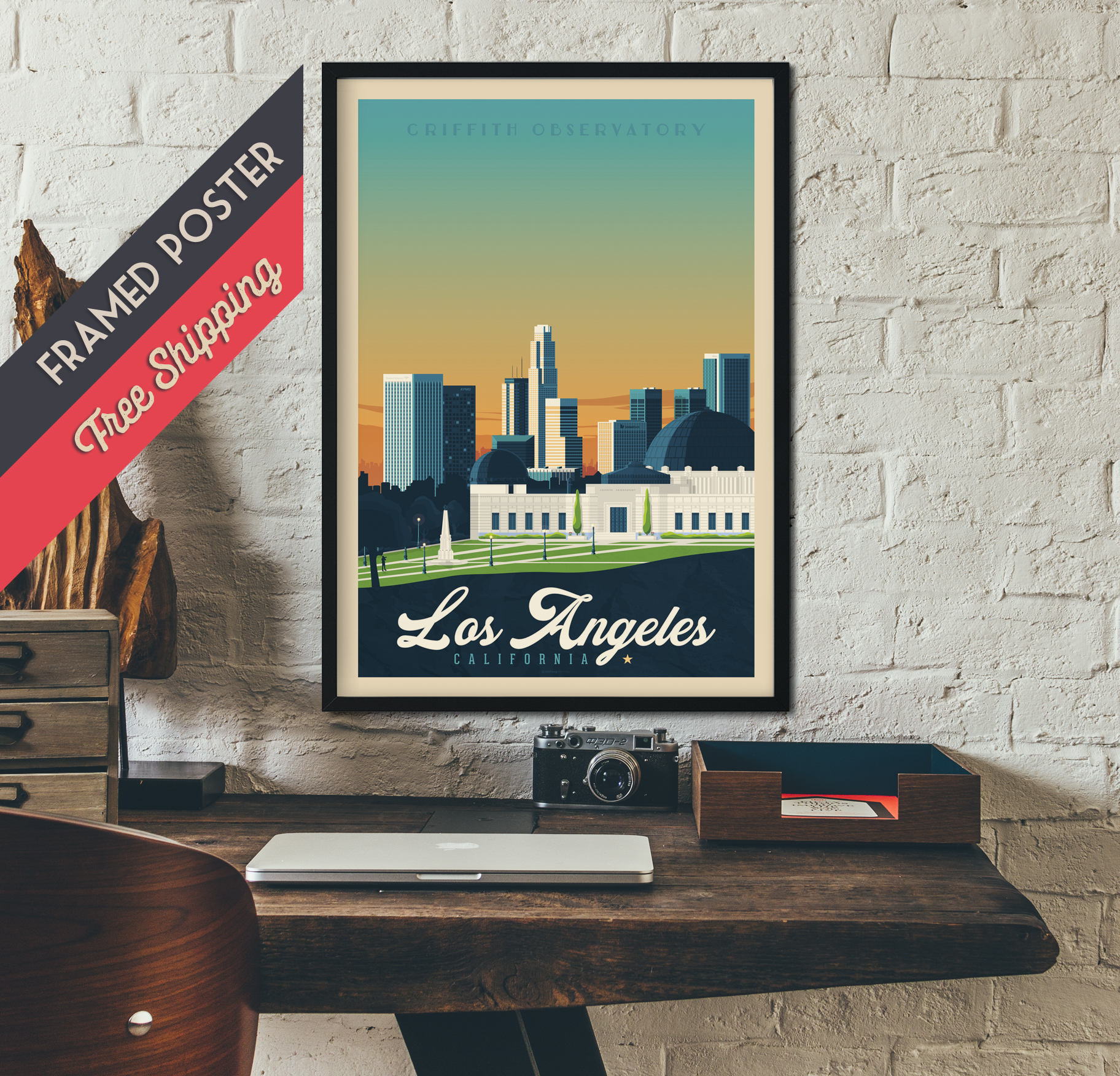 Los Angeles California USA - Vintage Travel Poster, framed poster ...