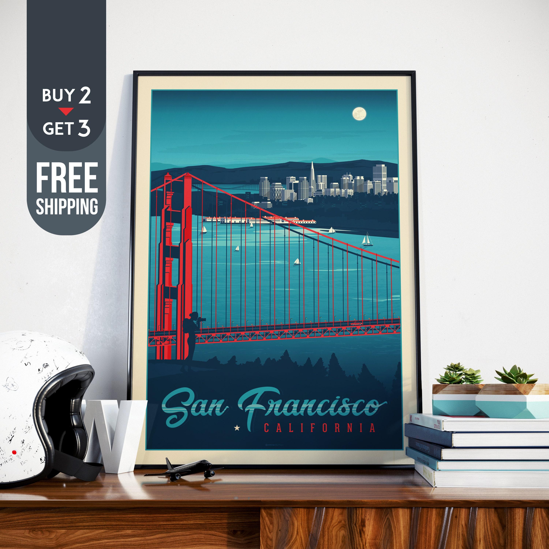 San Francisco Vintage Travel Poster, California Vintage