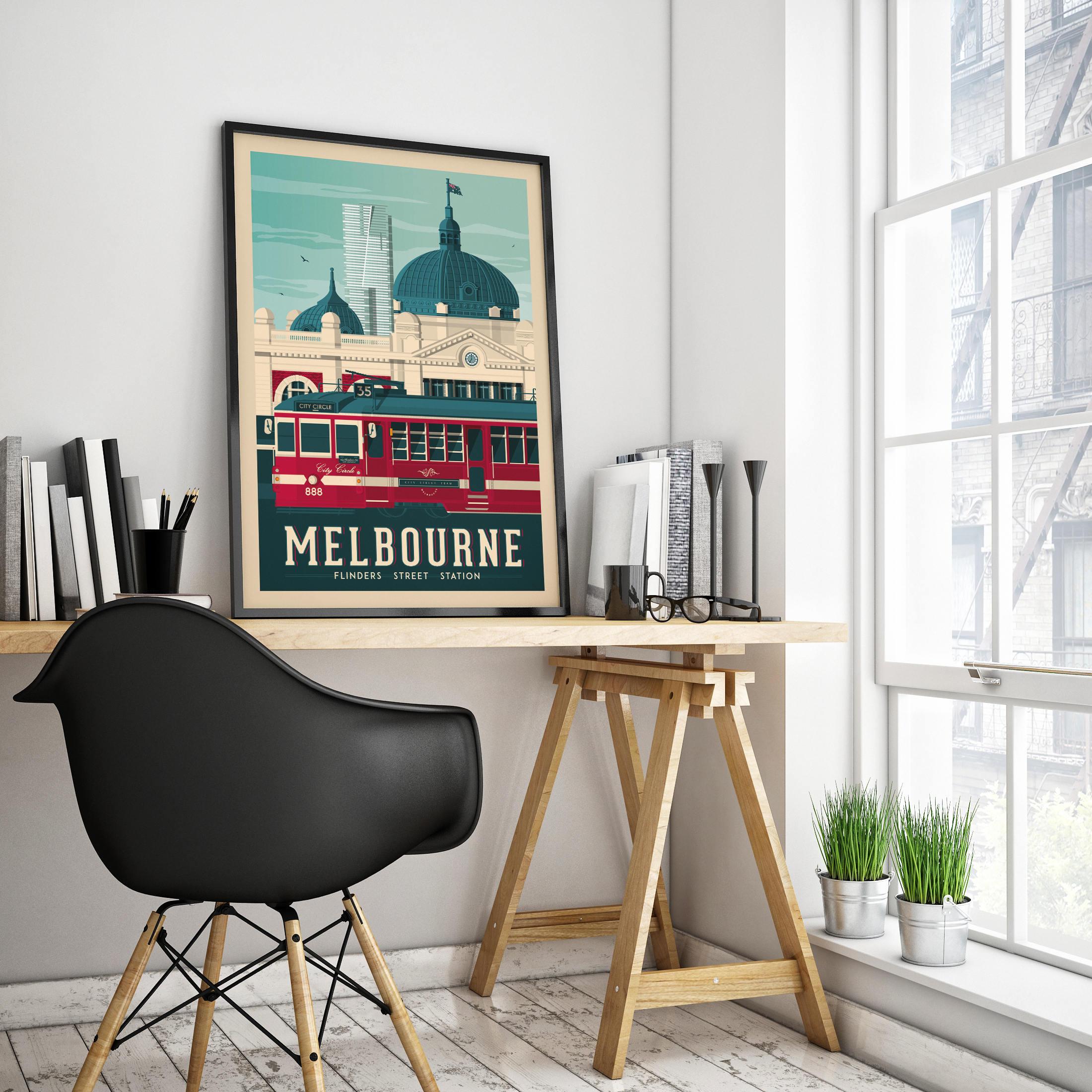 Melbourne Australia Vintage Travel Poster, framed poster