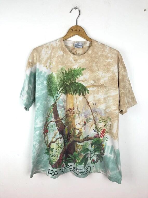 Vintage Liquid Blue Rainforest Tie Dye T-Shirt