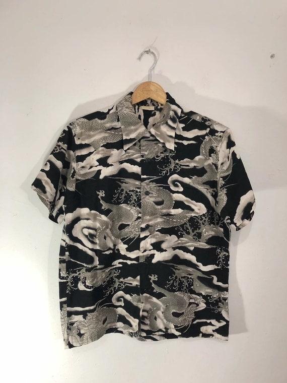Full Print Japanese Dragon Motive Shirt