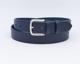 68c42a2eb116 Blue Leather Belt, Navy Blue Belt, Dark Blue Belt, Full Grain Leather Belt,  1'' 3/8 Blue Leather Belt, Jeans Belt, Handmade Leather Belt