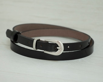 Leather Belt, Black Patent Leather Belt, Black Patent Leather Womens Belt, Skinny Belt, Thin Belt, Dress Belt