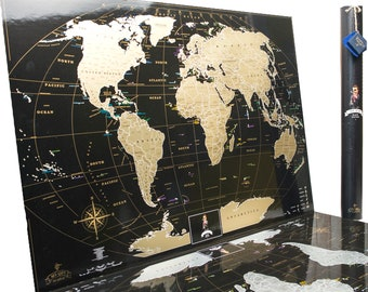 Best Gift For Traveling Friend, World Black Scratch off Map,personalized gift in Tube Where You Can Mark Cities And Places