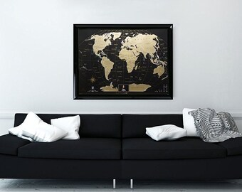 Personalized World Watercolor Scratch Off Map Been There Etsy - Framed scratch world map