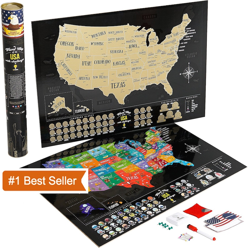 Scratch off map of the United states BucketList USA map scratch off Large  US map of United states Push pin map Scratch map America