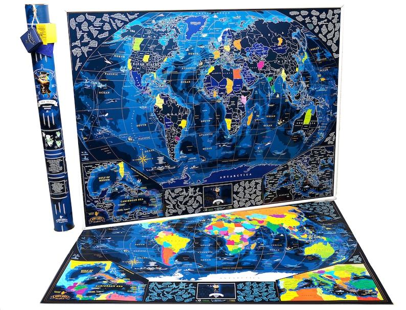 9e0350163e Scratch the world Wanderlust Blue Scratch World Map Discovery   Etsy