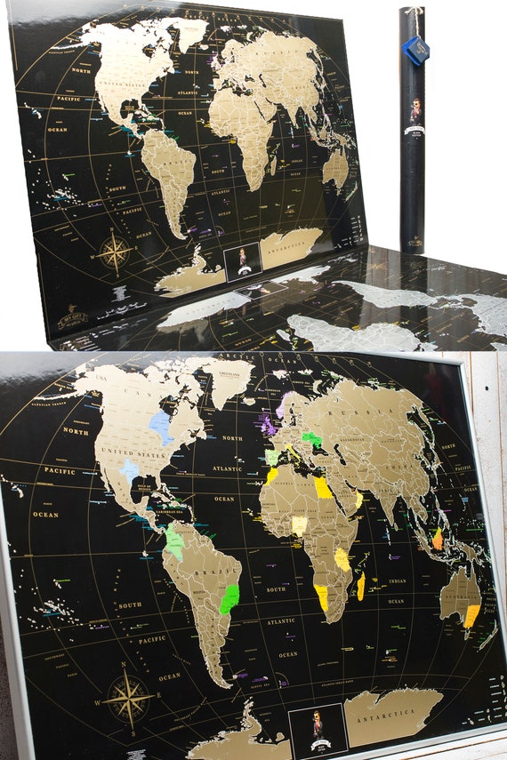 Scratch Off Map Best Gift For Traveling Friend World Black Etsy