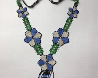 Blue Huichol Necklace