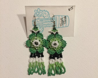 Beaded flower huichol earrings