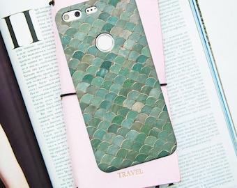 Google pixel case, mermaid pixel case, google pixel XL case, scales, pixel 2 case, pixel scales case, green, google case, pixel 2xl case