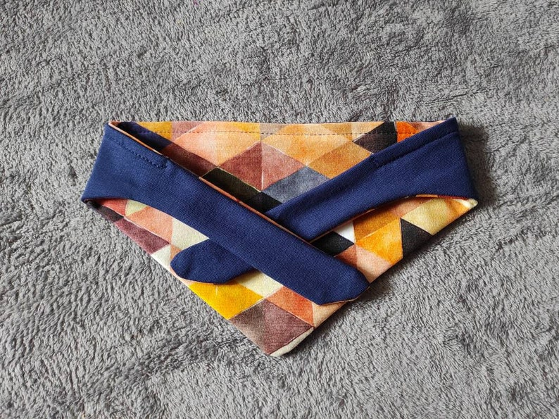 color blue and yellow reversible Geometrical print dog bandana