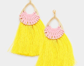 Yellow & Pink Tassel Earrings