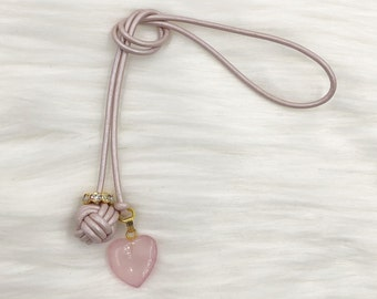 Monkey Fist Knot Leather Bookmark with Rose Quartz Heart Charm for your Traveler's Notebook, Planner, or Book - Made to Order