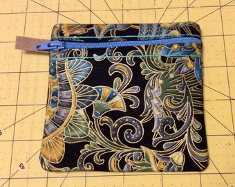 "4.5"" X 4.5"" zipper pouch in beautiful blue, gold and black"