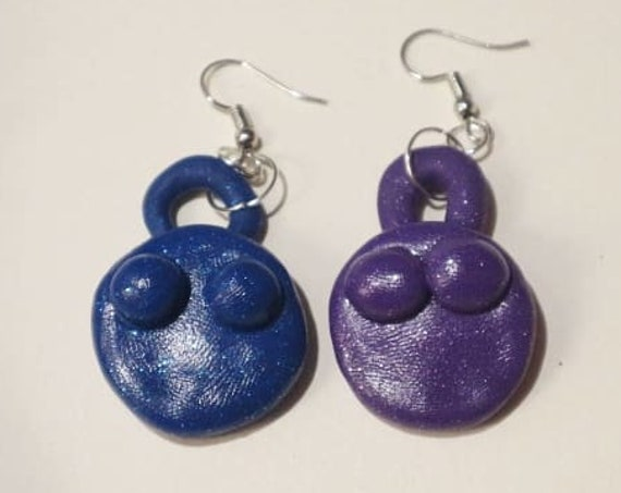 Venus Earrings - blue and purple glitter