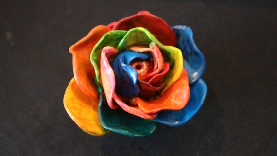 Rainbow Rose - sculptural incense holder