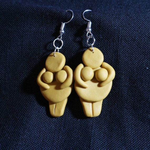 Mustard Goddesses - earrings - handmade - body positive feminist symbol and lucky charm