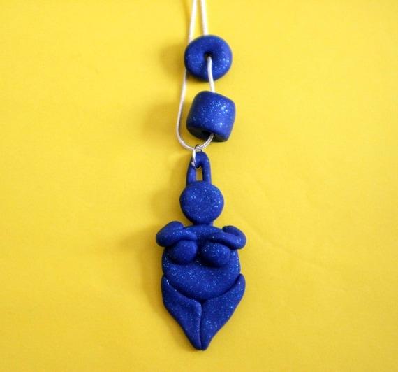 Dark blue glitter goddess necklace - body positive feminist symbol and lucky charm