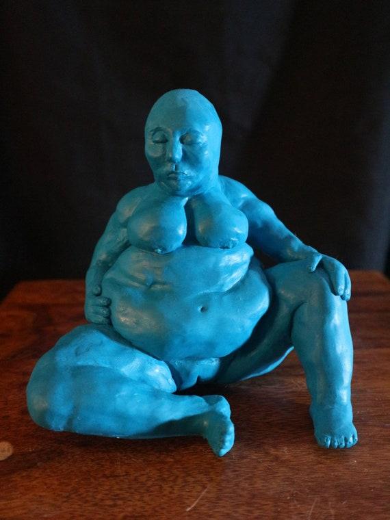 Big Blue - Medium sized sculpture - teal - goddess