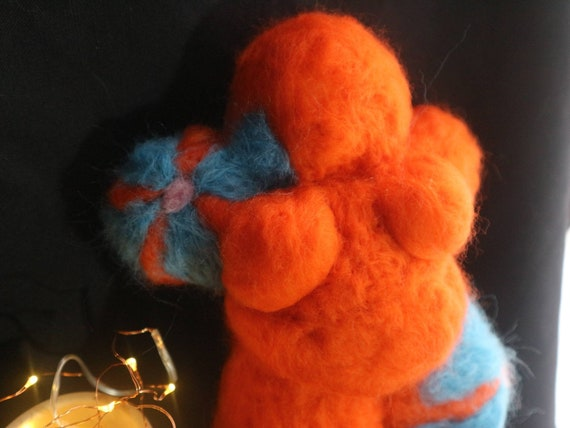Orange Blossom - felted plush goddess - body positive feminist symbol