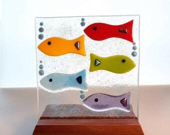 Handmade fused glass rainbow fish panel (inc stand).