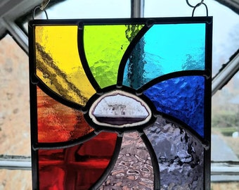 Handmade stained glass rainbow swirl panel with central agate slice
