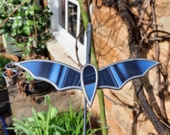 Handmade stained glass black/grey stripy bats.