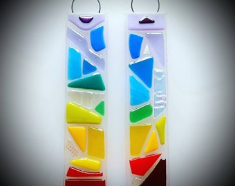 Handmade fused glass rainbow hanging (violet to red)
