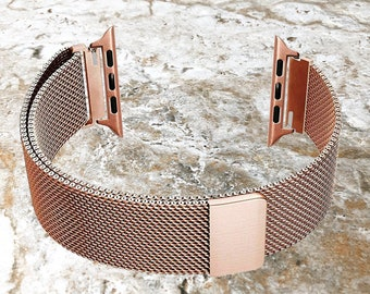 d9786fe01507d4 Modern Rose Gold Color Stainless Steel Adjustable Milanese Mesh Band Strap  Apple iWatch 38 40 42 44mm Watch 1 2 3 4 Ser Nike Hermes Edition