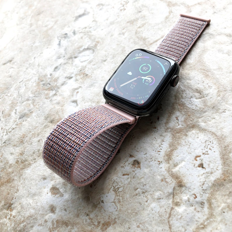 save off 2cb40 df379 Pink Sand Sports Loop n Hook Band Strap for Apple iWatch 38mm 40mm 42mm  44mm Watch 1 2 3 4 Series Nike Hermes Edition Silver Black Rose Gold