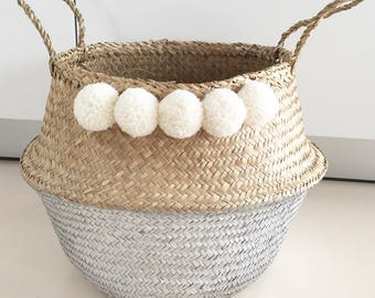 Large Wicker Basket XL silver with pompoms