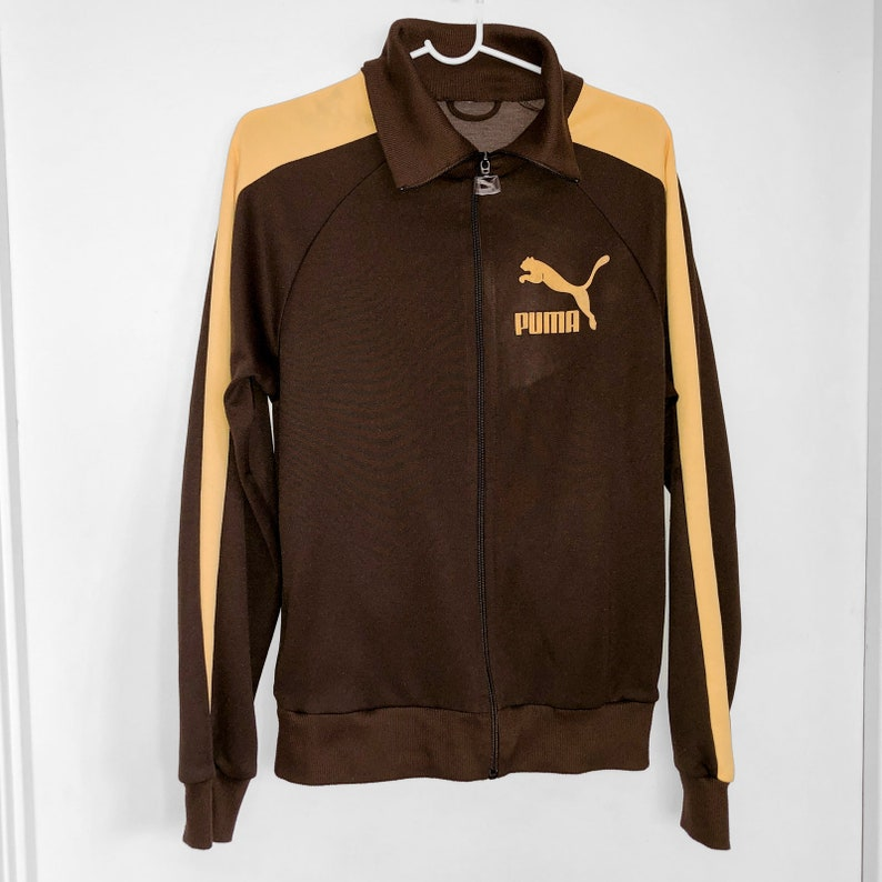 d8089863b Vintage PUMA Striped Track Jacket - Brown & Yellow - Collared
