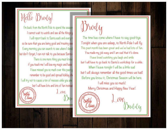 Personalized Elf Letters to go with Digital Christmas Elf