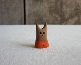 Micro Miniature Pottery Cat, Tiny Handmade Ceramic Orange Figurine, Small Terrarium Cat,Animal,Cat Lover Gift,Micro Ceramic Art,Fairy House