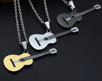 66ecd6d86 Guitar Necklace, Stainless Steel Rope Chain in Silver or 18K Gold Plated, Music  Lovers Jewelry, Fathers Day Gifts, Gifts Under 30