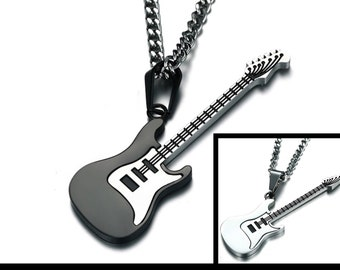 79b3a2e81 Guitar Necklace, Stainless Steel, Electric Guitar Pendant Necklace, Music  Lovers Jewelry, Fathers Day Gifts, Gifts Under 30